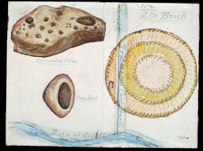 Scanned image of watercolour drawing of two artefacts, identified as 'cup marked stone' and 'stone bowl', on a hand-drawn map of a site. The drawing is entitled: 'Gills Broch', and is dated 1904.