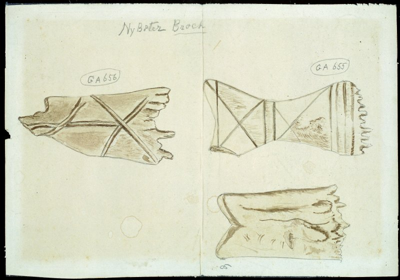 Scanned image of watercolour drawings of three bone weaving combs.  Annotated 'Nybster broch' Two of the objects are labelled with museum accession number 'GA656' and 'GA655'.