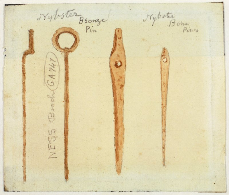 Scanned image of a drawing of bronze and bone pins from excavations by Sir Francis Tress Barry and John Nicolson at Nybster and Ness brochs. Bronze pin from Ness broch annotated with museum accession number 'GA747'.  Provenance of bronze pin is given as Nybster broch but there is a contradictory note that attributes it to Ness.