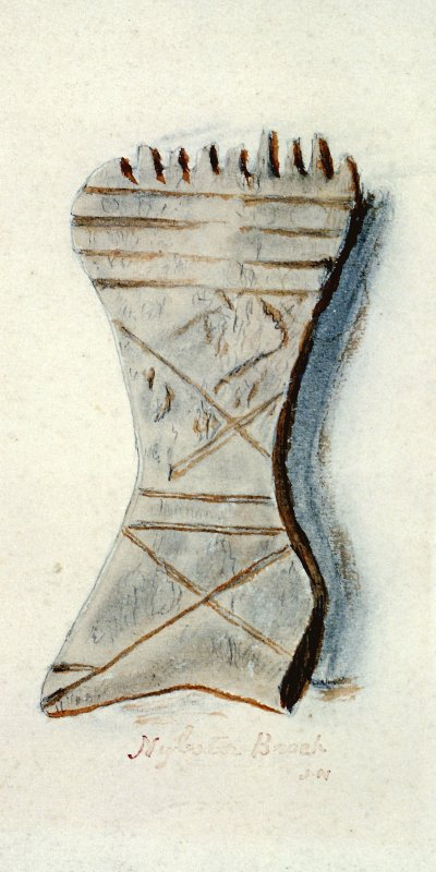 Scanned image of a watercolour drawing of a weaving comb. Annotated 'Nybster Broch. J N'.Watercolour of a weaving comb, entitled: 'Nybster Broch'.