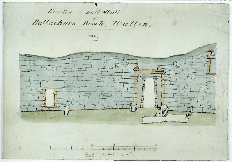 Scanned image of elevation scale drawing of broch wall. Annotated 'Elevation of east wall Ballacharn Broch, Watten. 1905'.