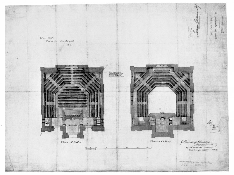 Scanned image of drawing showing plans of area and gallery.