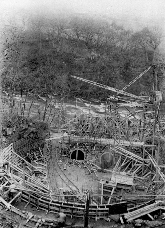 View from NE showing Surge Tank under construction, Stonebyres hydroelectric power station.