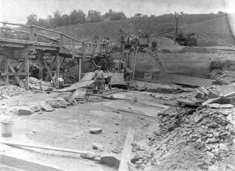 View showing construction work at site of weirs, Stonebyres hydroelectric power station.