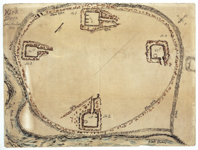 Scanned image of E 49251 CN - a drawing in plan, of four structures within an enclosure; entitled: 'Kirk Stones'.