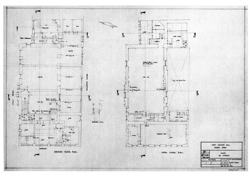 "Scanned image of drawing showing plans as existing. Signed and Dated ""Ian G Lindsay & Partners, Architects, 17 Great Stuart Street, Edinburgh 3.  1960"""