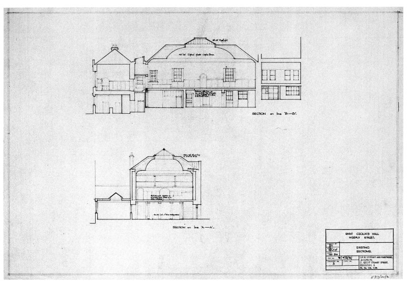 "Scanned image of drawing showing existing sections. Signed and Dated ""Ian G Lindsay & Partners, Architects, 17 Great Stuart Street, Edinburgh 3.  1960"""