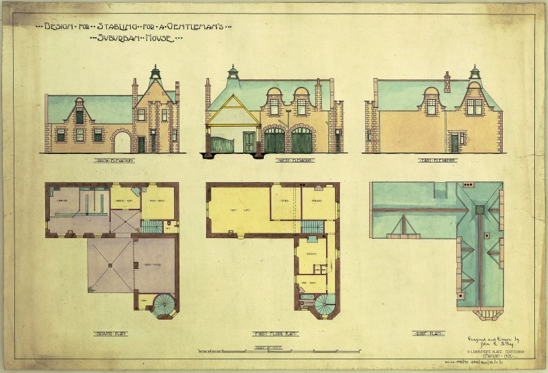 Student drawings. Plans and elevations for a stables of a suburban house.