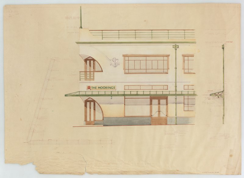 Premises for L Castelvecchi. Part plan, elevation, and details of canopy, The Moorings, Largs.