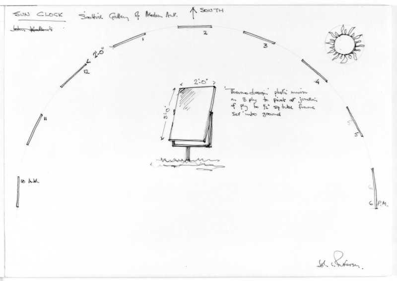 Page from sketchbook showing design for sun clock installation. Scanned image of E 42033.