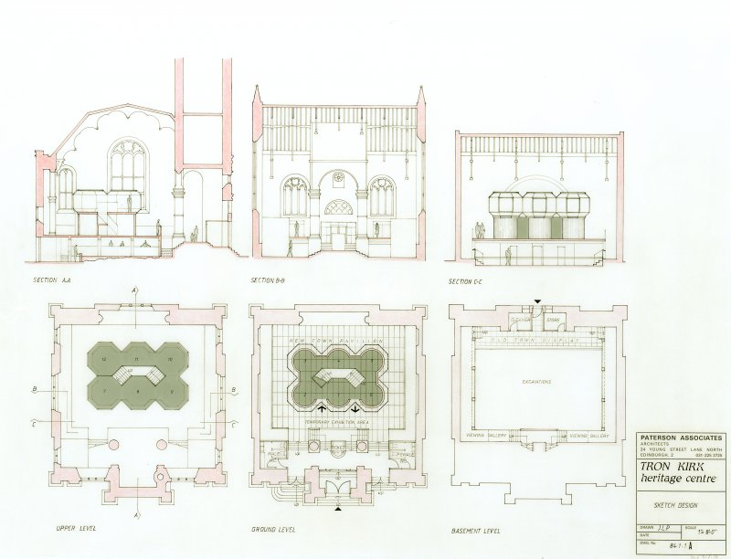 Proposed Tron Kirk Heritage Centre. Plans and sections. Scanned image of E 42027 CN.