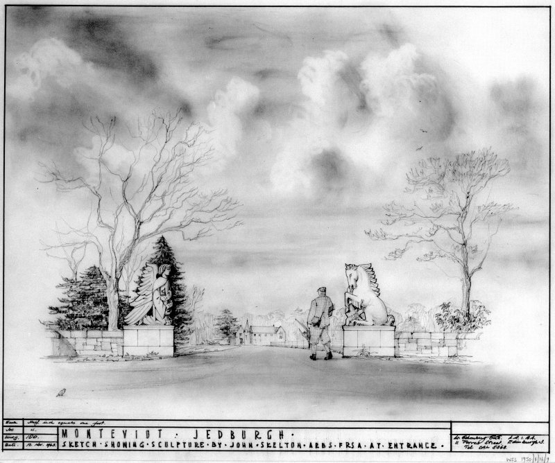Perspective sketch showing sculptures at entrance to ground. Scanned image of E 26113.