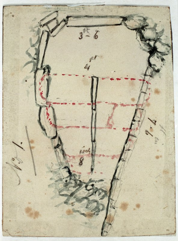 Digital copy of plan of chamber with measurements annotated 'No. 1' from excavations by Sir Francis Tress Barry. Verso: 'Chambered Cairn Yarhouse'.