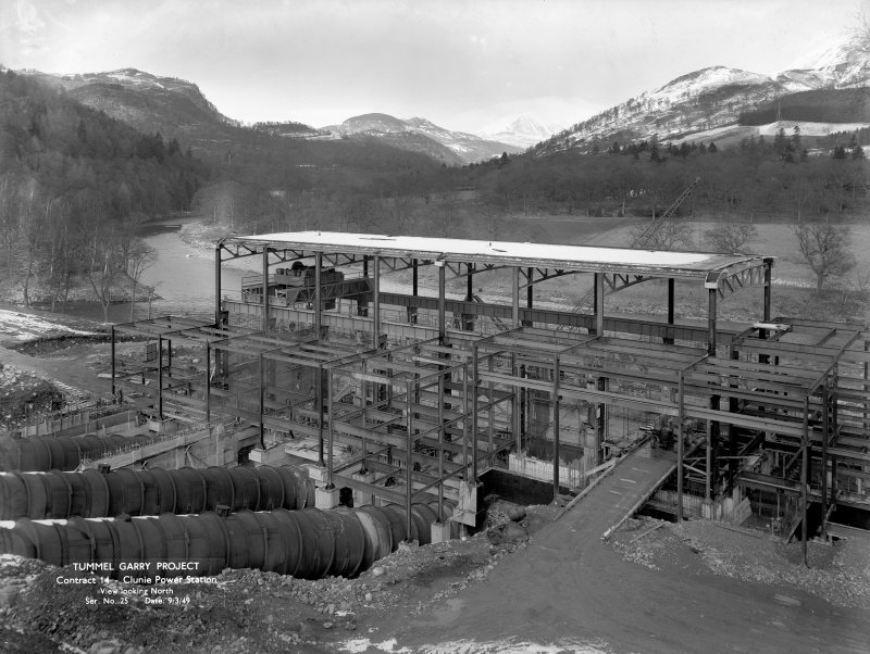 View from S during construction. Copy of negative, Tummel Valley, Box 870/2, Contract No. 14, Ser. No. 25.