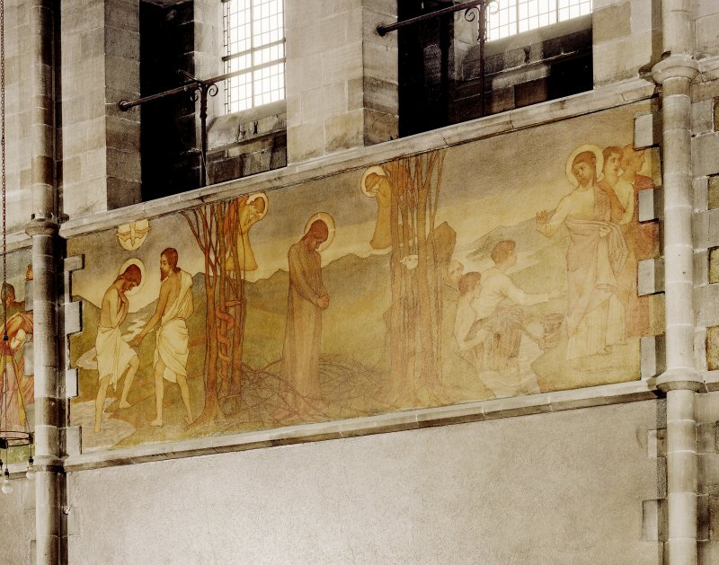 Catholic Apostolic Church, interior, nave, North wall Scanned image of detail of mural; Baptism, Temptation in the Wilderness, Calling the Apostles