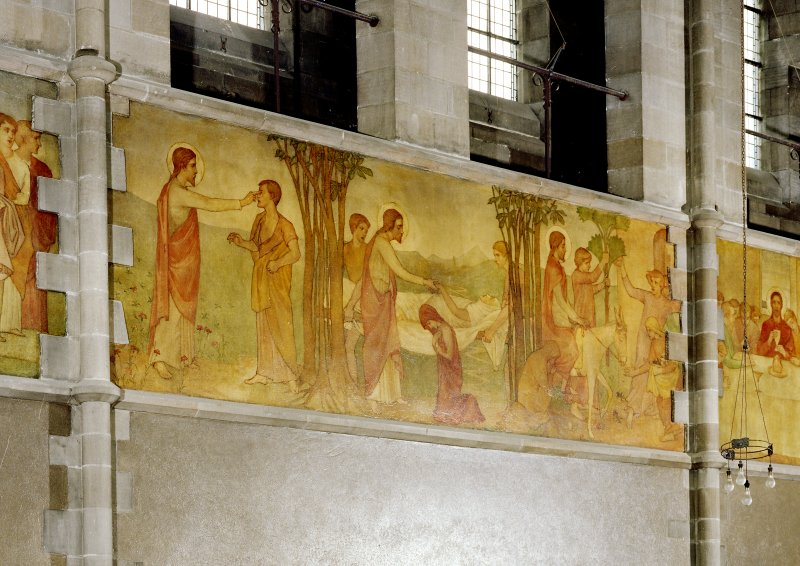 Catholic Apostolic Church, nave, North wall Scanned image of detail of mural showing scenes from the life of Christ; Christ healing the Sick; the Entry into Jerusalem