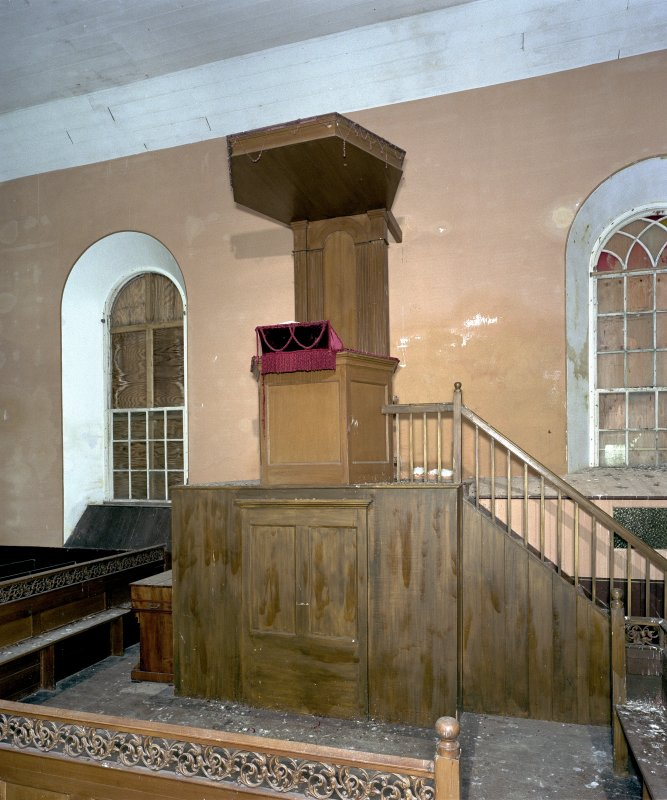 View of pulpit from north west in St Peter's Kirk, Sandwick.