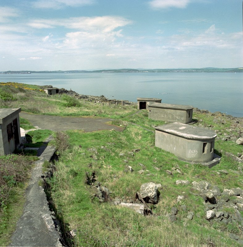 Scanned image of Edinburgh, Cramond Island, Cramond Battery, coast battery of general view of the two types of searchlight emplacements from South East.