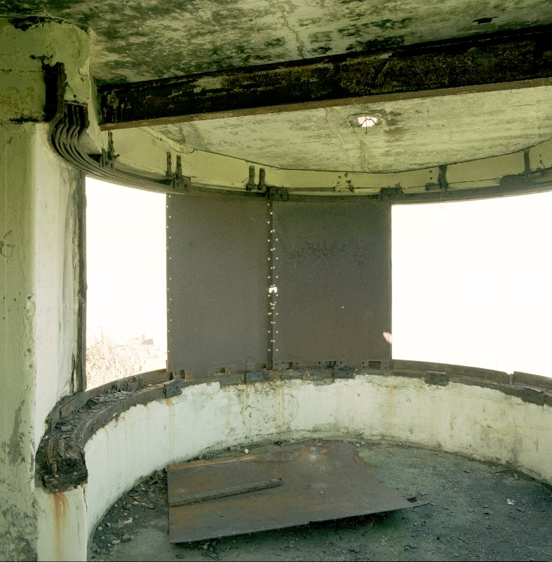 Scanned image of Edinburgh, Cramond Island, Cramond Battery, coast battery showing interior of earlier version of searchlight emplacement. Detail of light beam focussing shutters and tracking rails..
