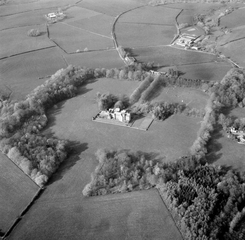 Oblique aerial view centred on Rowallan Castle.