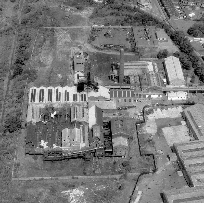 Aerial view. Digital image of B62105, but zoomed in on colliery