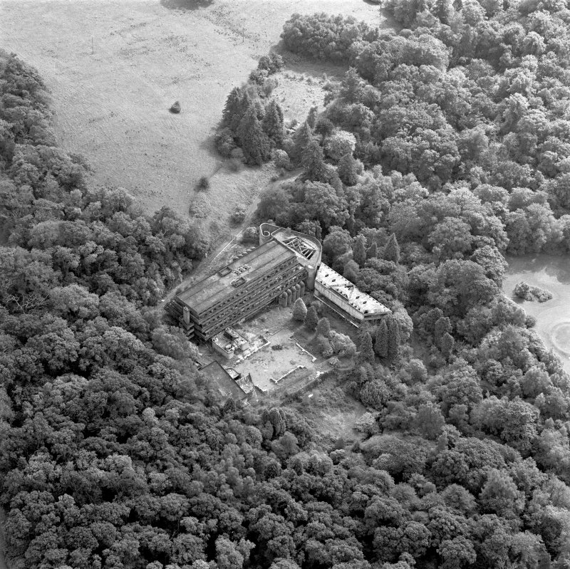 Cardross, scanned image of oblique aerial view, taken from the NNW, of St Peter's College.