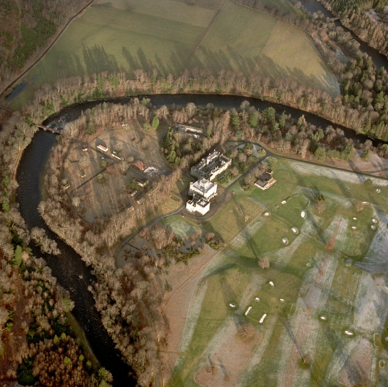 Taymouth Castle, Garden and Chinese Bridge. General aerial view.