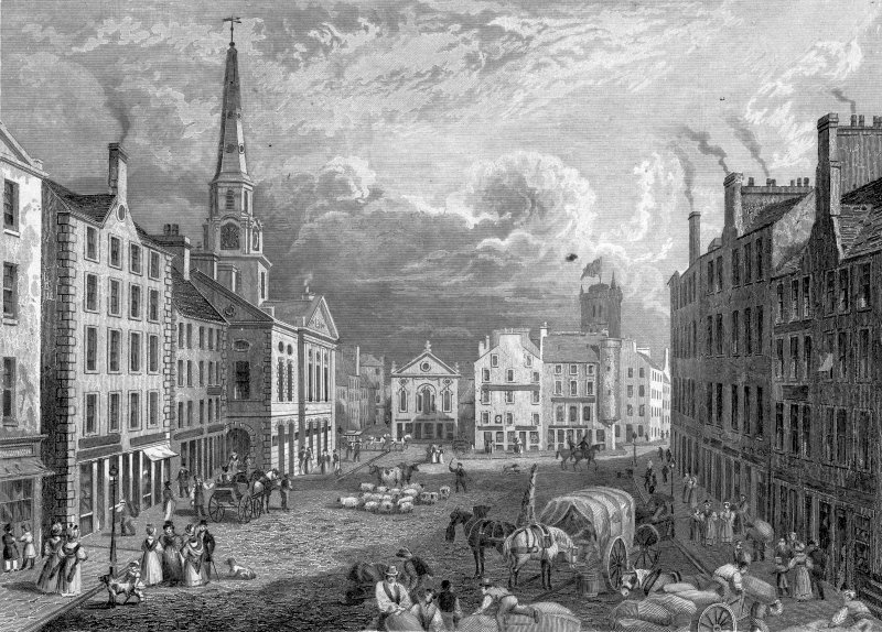 Digital image of engraving showing the High Street.