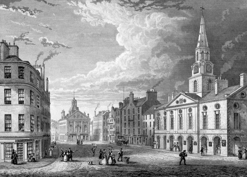 Engraving showing the Town House, Dundee. Insc: 'Drawn & Engraved on Steel. by Joseph Swan. Glasgow'.