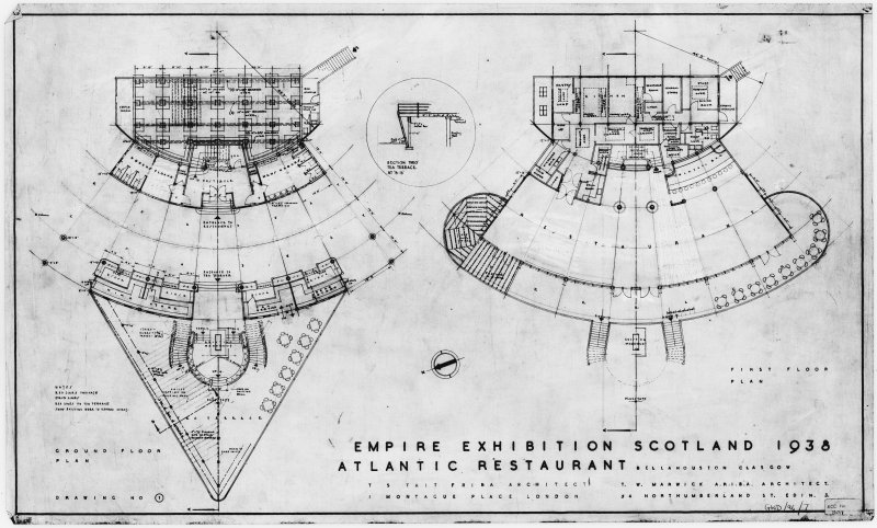 Photographic copy of ground and first floor plans, Atlantic Restaurant Bellahouston Park, 1938 Empire Exhibition Titled: 'Empire Exhibition Scotland 1938  Atlantic Restaurant Bellahouston Glasgow  T S Tait F.R.I.B.A.  Architect 1 Montague Place  London  T. W. Marwick A.R.I.B.A. Architect 54 Northumberland St. Edin. 3.'