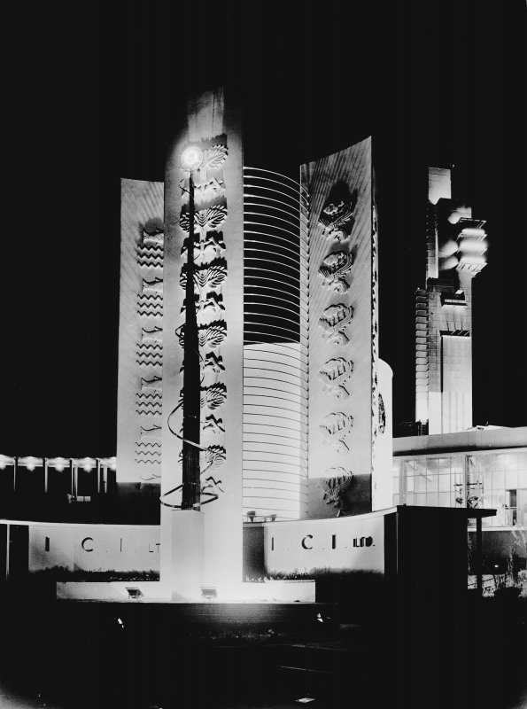 Empire Exhibition, 1938 Press photograph showing ICI pavilion at night, with the Tower in the background