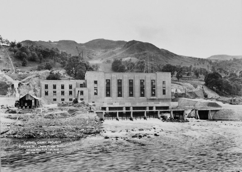 View of Tummel/Garry Project, contract 14, Clunie Power Station, general view from left bank. Scan of negative no. 91, Box 864/2