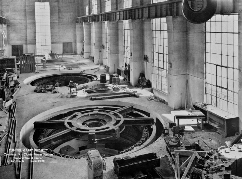 View of Tummel/Garry Project, contract 14, Clunie Power Station, general view of interior. Scan of negative no. 82, Box 864/2