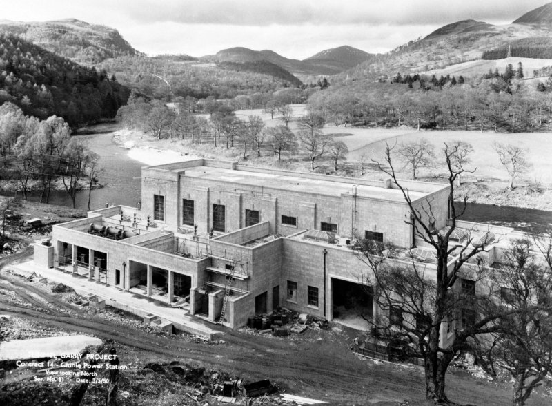 View of Tummel/Garry Project, contract 14, Clunie Power Station, view looking north. Scan of negative no. 81, Box 864/2