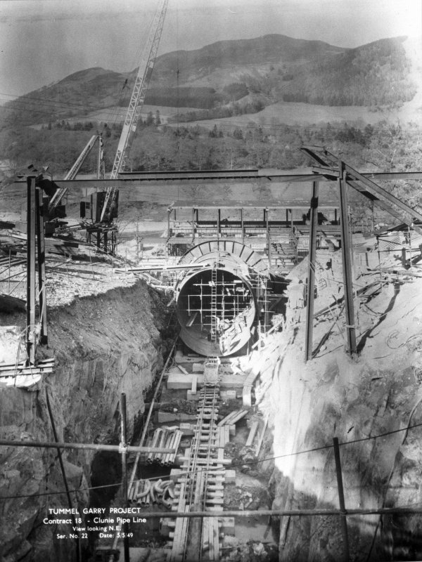 View of Tummel/Garry Project, contract 18, Clunie Pipe Line, view looking north east. Scan of negative no. 22, Box 871/1