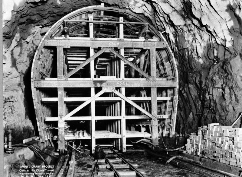 View of Tummel/Garry Project, contract 5, Clunie Tunnel, view showing shutter at intake. Scan of negative no. 34, Box 876/2