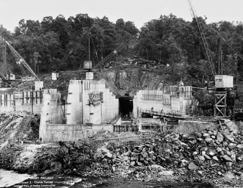 View of Tummel/Garry Project, contract 5, Clunie Tunnel, general view of intake construction. Scan of negative no. 32, Box 876/2
