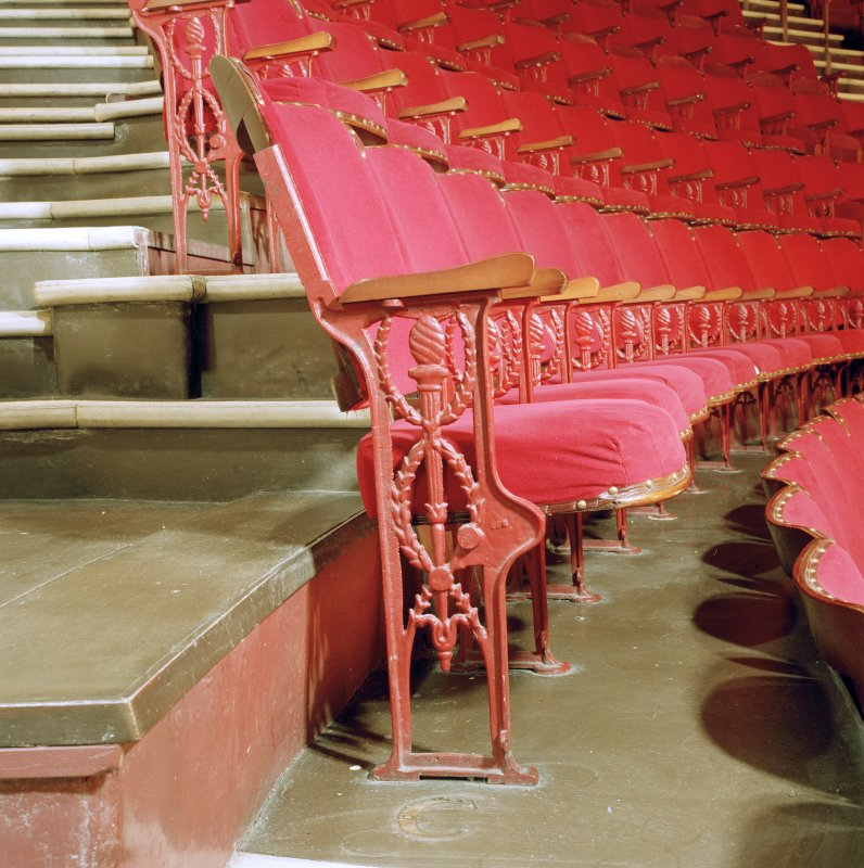 Aberdeen, Rosemount Viaduct, His Majesty's Theatre. Scanned image of interior, auditorium, detail of seats in gallery with torch motif.