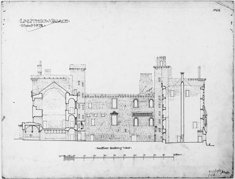 Scanned image of drawing showing section looking W.