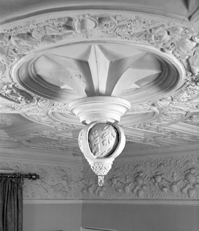 Interior. Detail of ceiling pendant in King's Room.