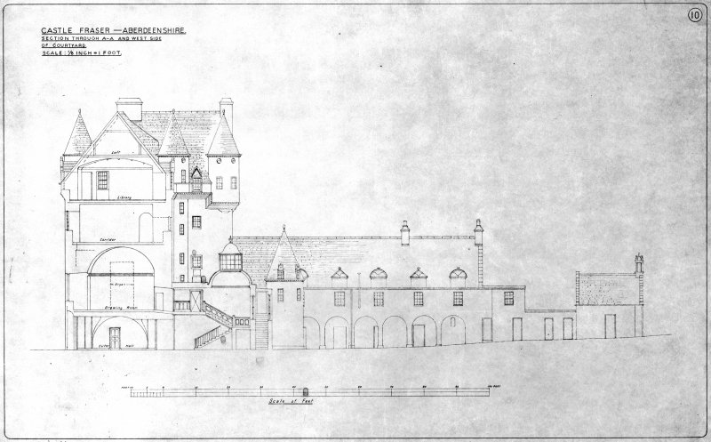 Scanned image of drawing showing elevation and section of W side of courtyard.