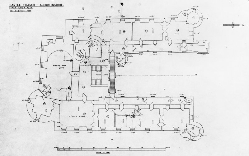 Drawing showing first floor plan of Castle Fraser, Aberdeenshire.