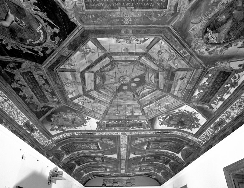 Interior. Painted gallery, view of ceiling showing painted cupola and panels beyond from south.