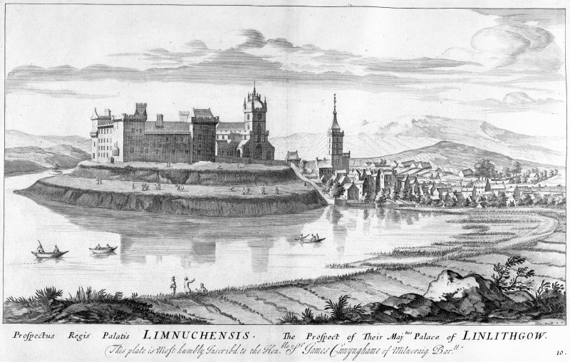General view of Linlithgow Palace. Scanned image of engraving by Captain John Slezer. Copied from Slezer's Theatrum Scotiae.  Entitled 'The Prospect of their Majesties' Palace of Linlithgow - This plate is most humbly inscribed to the Honorable Sir James Cunynghame of Milncraig Bar.