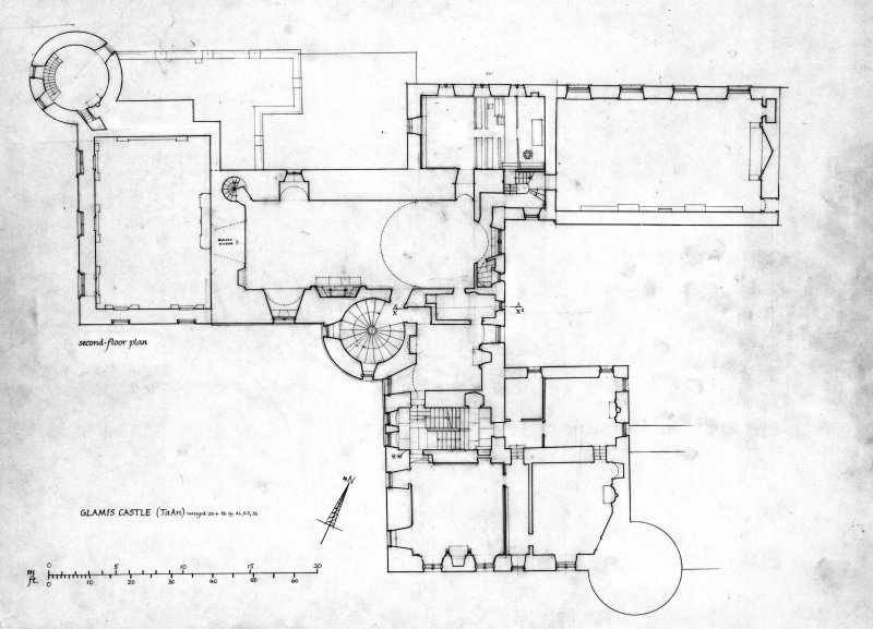 Scanned image of drawing showing plan of second floor.