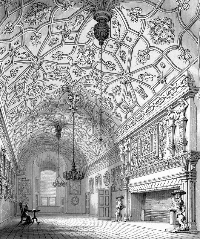 Drawing showing interior view of the Great Hall. Glamis Castle.