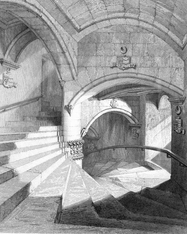 Engraving of circular staircase at Fyvie Castle