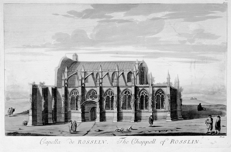 Scanned image of drawing showing view from South. Titled: 'Capella de Rosslin. The Chappell of Rosslin' 'D.11'.
