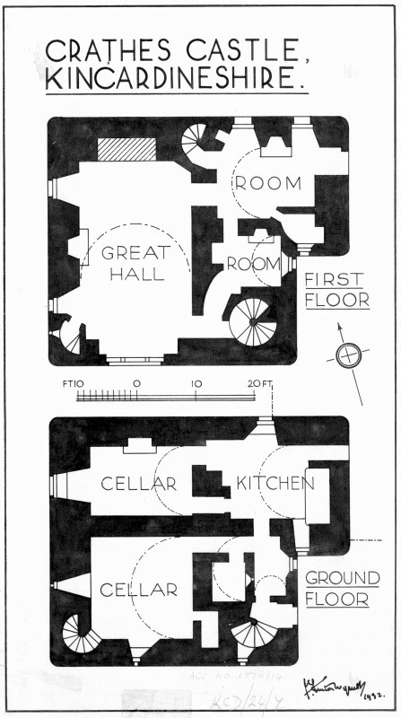"Crathes Castle Ground and first floor plans, titled: 'Crathes Castle, Kincardineshire' Pen and ink. Scale 1"":8'"
