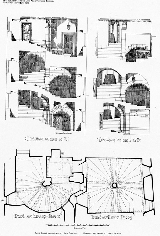 Fyvie Castle, interior. Scanned image of plan of main staircase. Titled: 'Fyvie Castle, Aberdeenshire: Main Staircase' 'Measured and Drawn by David Thomson'  'Supplement to the Builders' Journal and Architectural Record' 'Wednesday, March 4th, 1903' 'Section on line A-B' 'Section on line C-D' 'Plan at Ground floor' 'Plan at First floor'.